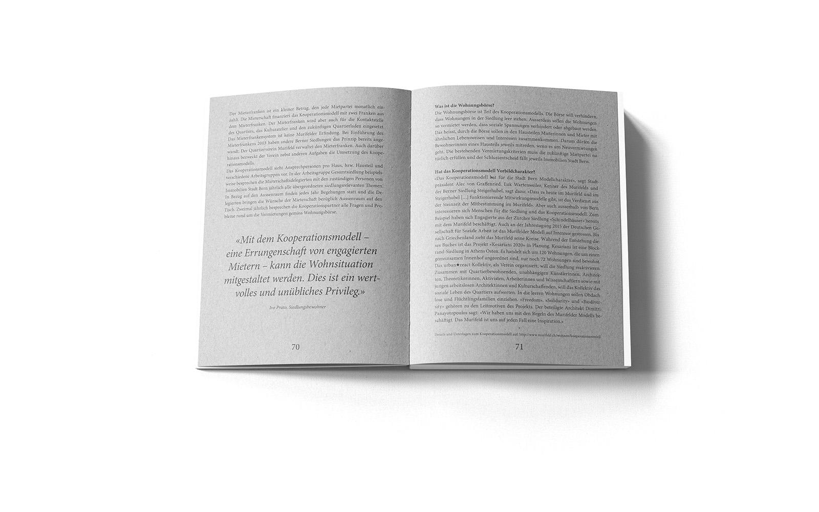 Doppelseite aus dem Kapitel über das Kooperationsmodell (Sonderausgabe des Murifeldbuches).